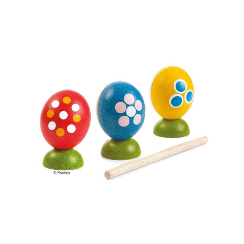 3 bunte Percussion-Eier im Set