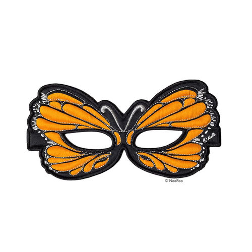 Maske Schmetterling Orange mit Glitzer