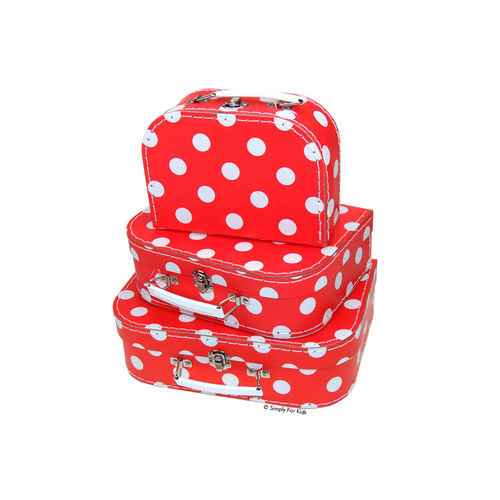 Puppenkoffer in Rot mit Polka Dots