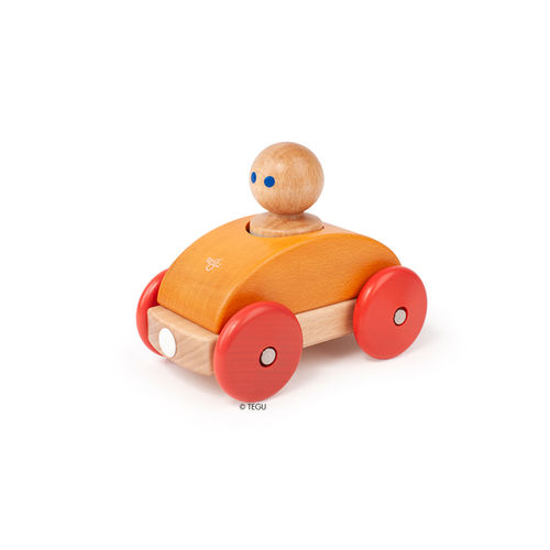 Tegu magnetisches Holz-Auto Baby Racer Orange-Rot