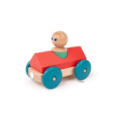 Tegu magnetisches Holz-Auto Baby Racer Rot-Blau