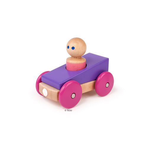 Tegu magnetisches Holz-Auto Baby Racer Lila-Pink