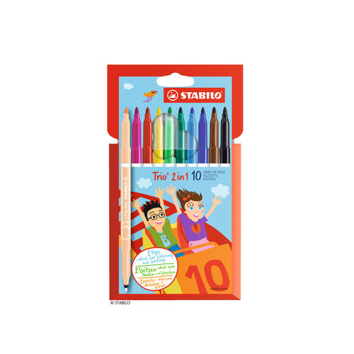 Filzstift und Fineliner STABILO Trio 2 in 1 10er Etui