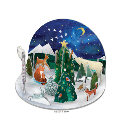 3D Adventskalender Fuchs im Winter-Wald